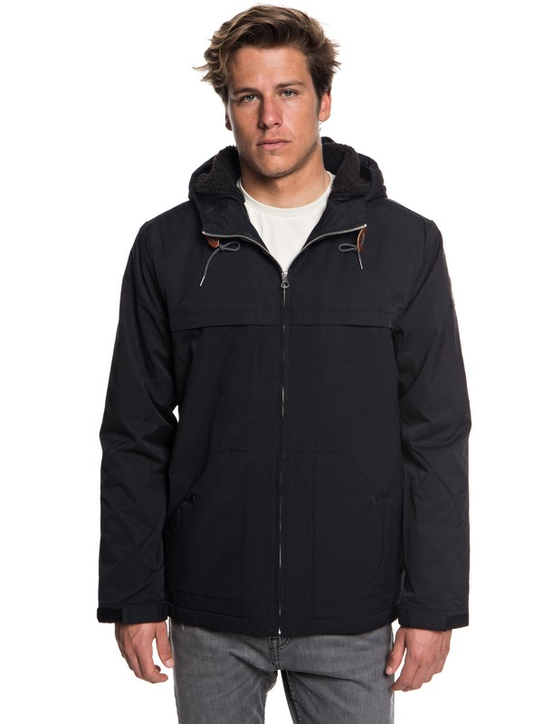 0 Wanna - Water-Resistant Hooded Parka for Men Black EQYJK03434 Quiksilver