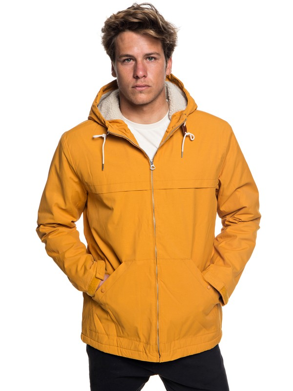 0 Wanna - Water-Resistant Hooded Parka for Men Orange EQYJK03434 Quiksilver