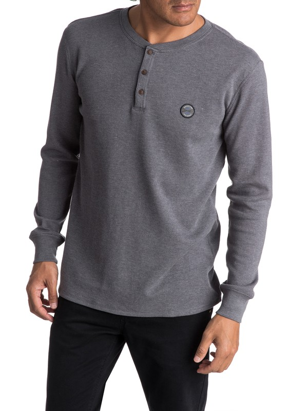0 Men's Ocean Surface Thermal Long Sleeve Henley Top  EQYKT03657 Quiksilver