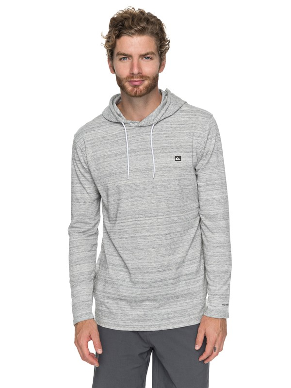0 Frontdoor Hooded Long Sleeve Tee Grey EQYKT03705 Quiksilver