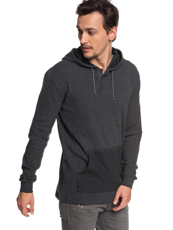 0 Men's Hakone Spring Long Sleeve Hooded Top Black EQYKT03763 Quiksilver