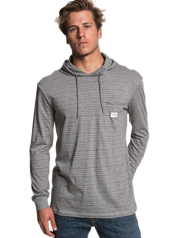 0 Zermet Long Sleeve Hooded Top Grey EQYKT03781 Quiksilver