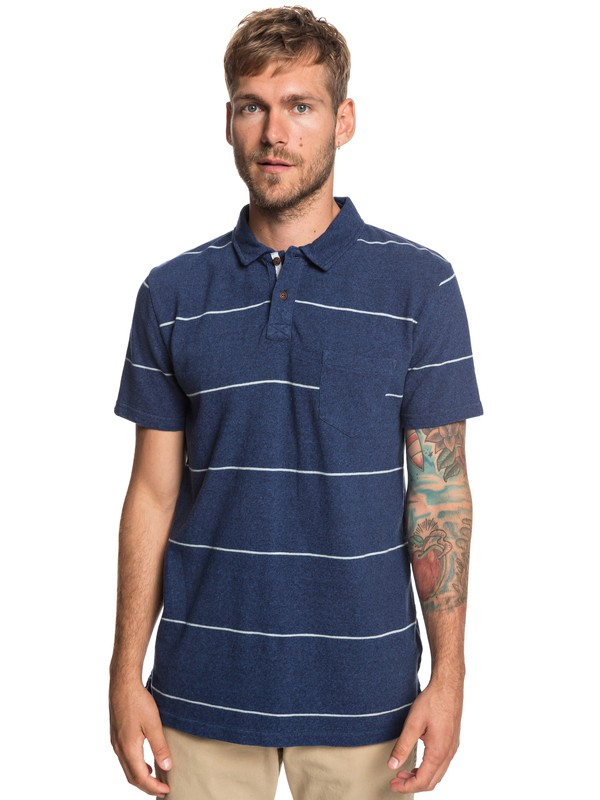 0 Iron In The Soul Short Sleeve Polo Shirt Blue EQYKT03858 Quiksilver