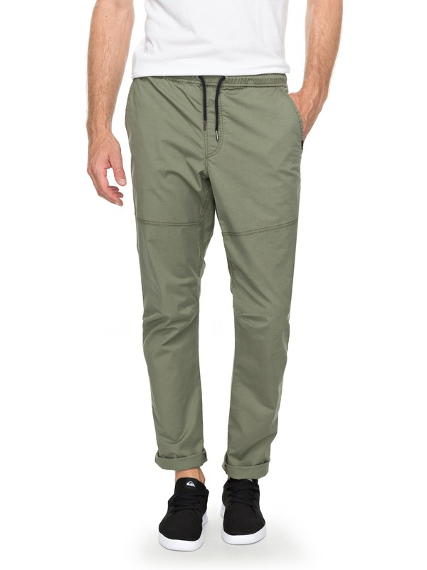 0 Men's Foxoy Straight Tapered Pants Green EQYNP03134 Quiksilver