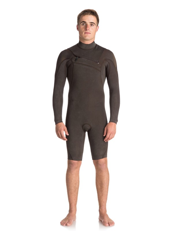 0 2/2mm Quiksilver Originals Monochrome - Chest Zip Long Sleeve Springsuit for Men Black EQYW403008 Quiksilver