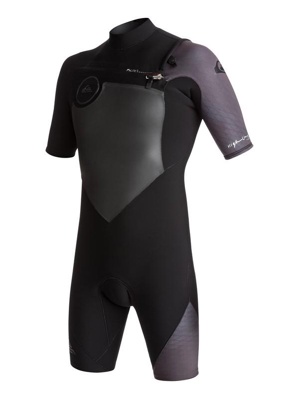 0 2/2mm Highline Plus - Chest Zip Kurzarm-Spingsuit für Männer Schwarz EQYW503005 Quiksilver