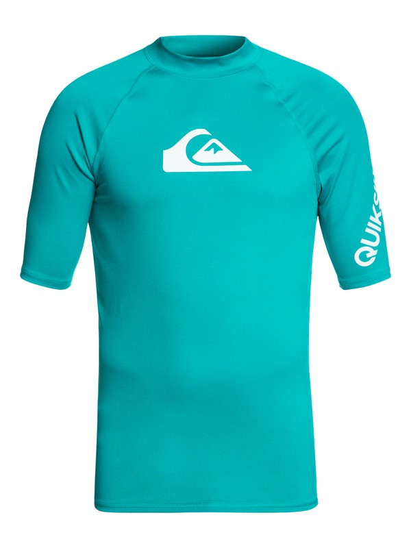 0 Men's All Time Short Sleeve UPF 50 Rash Guard Blue EQYWR03033 Quiksilver