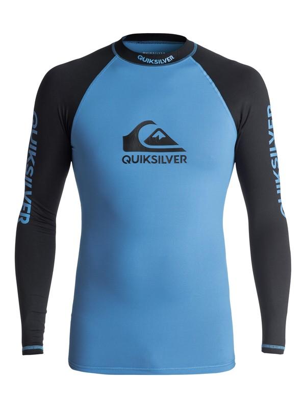 0 On Tour - Langarm UPF 50 Rash Vest für Männer Blau EQYWR03076 Quiksilver