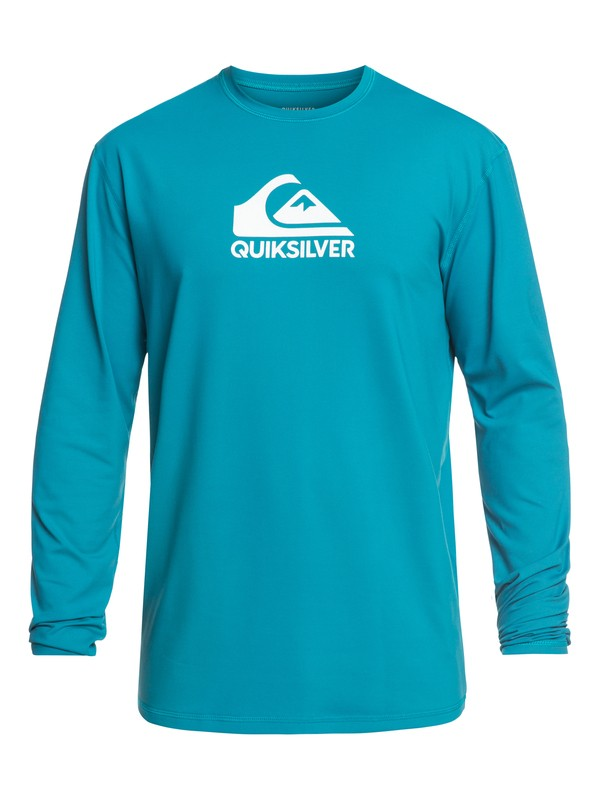 0 Solid Streak Long Sleeve UPF 50 Surf Tee Blue EQYWR03160 Quiksilver