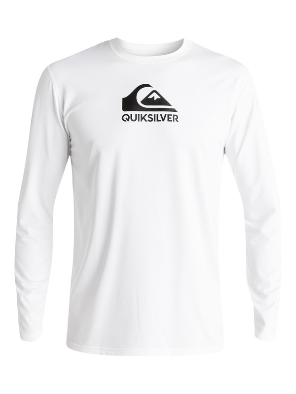 0 Solid Streak Long Sleeve UPF 50 Surf Tee White EQYWR03160 Quiksilver