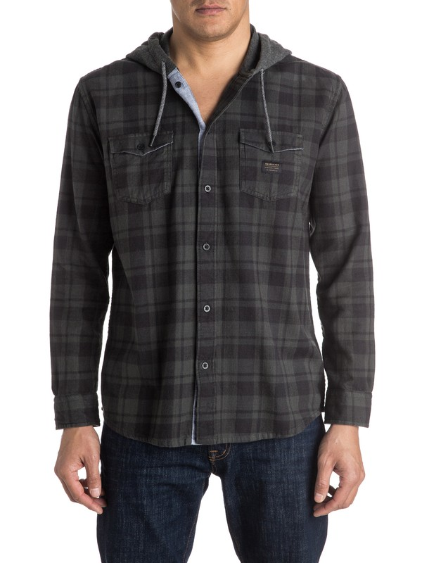 0 Snap Up Flannel Long Sleeve Hooded Shirt  EQYWT03376 Quiksilver