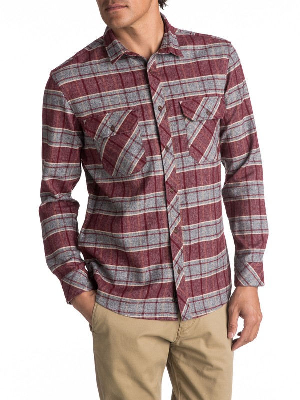 0 River Back Flannel Long Sleeve Shirt Red EQYWT03532 Quiksilver