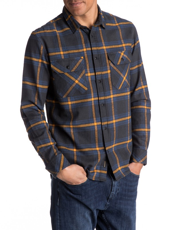 0 Fitz Forktail Flannel Long Sleeve Shirt Black EQYWT03544 Quiksilver