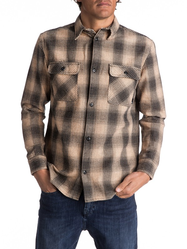 0 Venice Vice Flannel Long Sleeve Shirt Orange EQYWT03546 Quiksilver