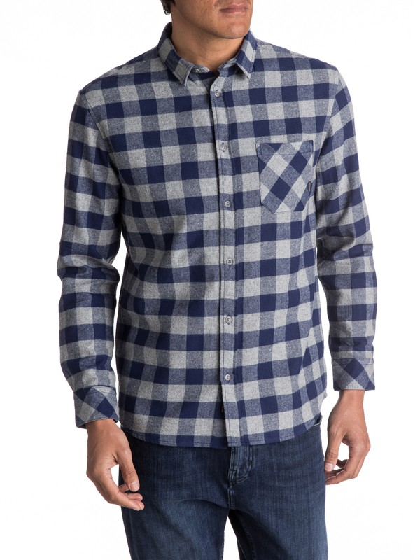 0 Motherfly Flannel Long Sleeve Shirt Blue EQYWT03573 Quiksilver