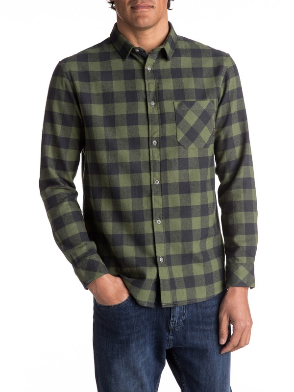 0 Motherfly Flannel Long Sleeve Shirt Green EQYWT03573 Quiksilver