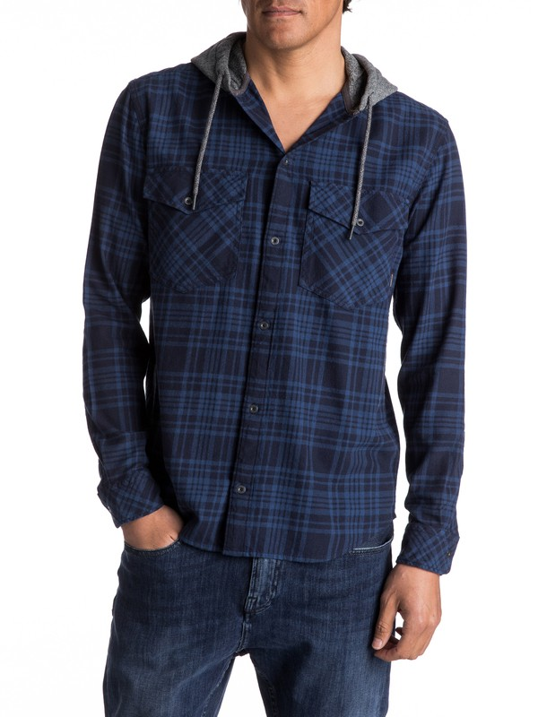 0 Snap Up Flannel Long Sleeve Hooded Shirt  EQYWT03578 Quiksilver