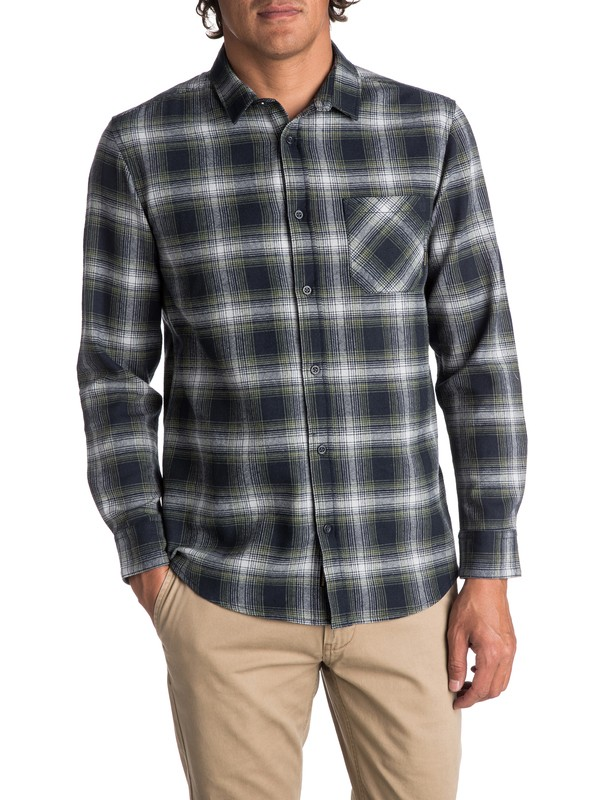 0 Men's Fatherfly Long Sleeve Shirt Blue EQYWT03616 Quiksilver