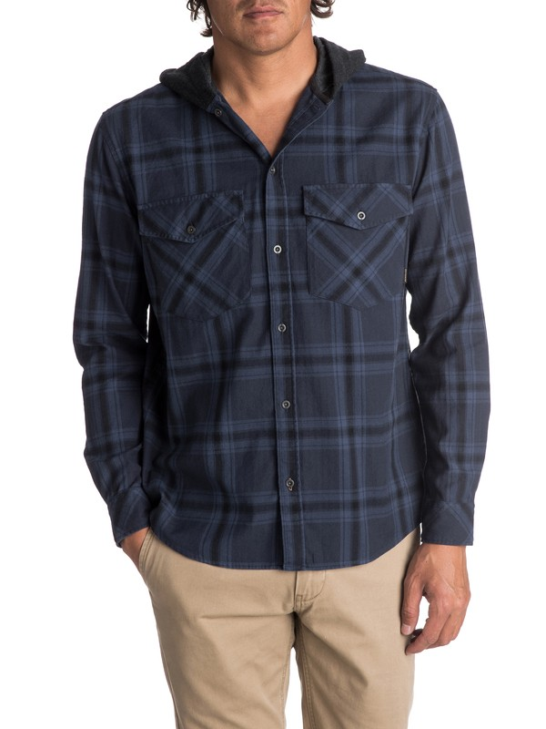 0 Men's The Magston Hooded Long Sleeve Shirt  EQYWT03619 Quiksilver