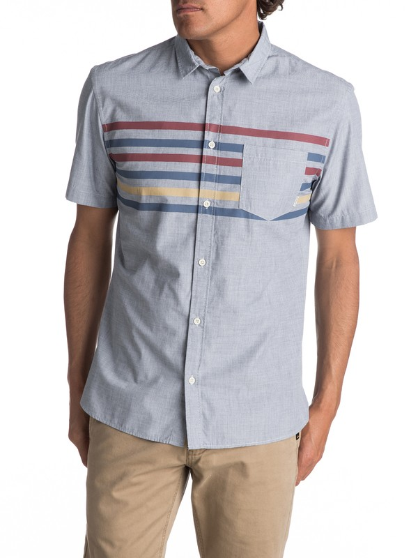 0 Men's Popline Short Sleeve Shirt Blue EQYWT03621 Quiksilver