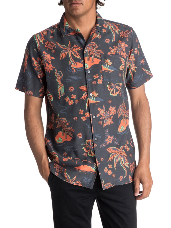 0 Men's Black Hula Short Sleeve Shirt  EQYWT03622 Quiksilver