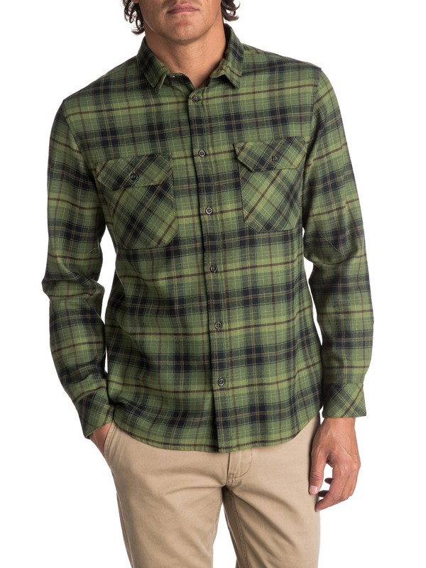 0 Men's Fitzspeere Long Sleeve Shirt Green EQYWT03624 Quiksilver
