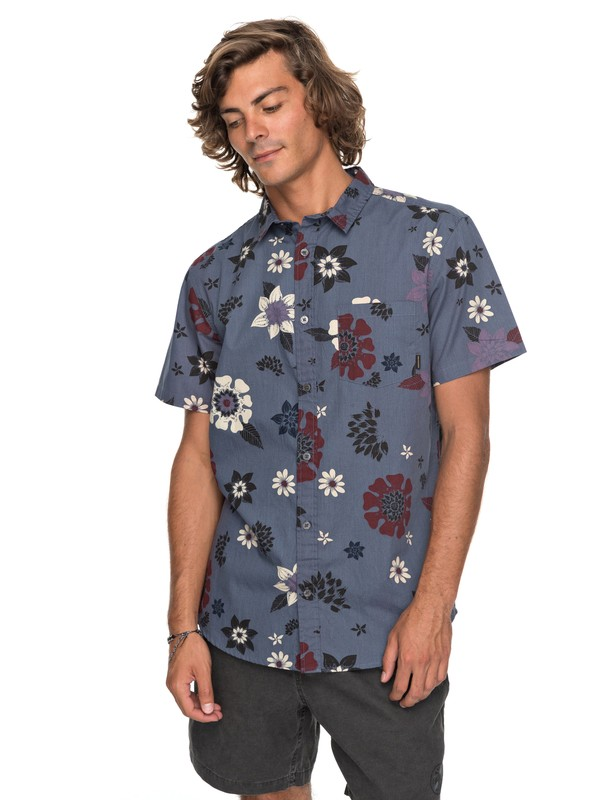 0 Sunset Floral Short Sleeve Shirt Blue EQYWT03634 Quiksilver