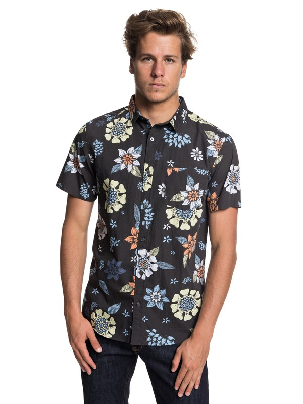 0 Sunset Floral Short Sleeve Shirt Black EQYWT03634 Quiksilver