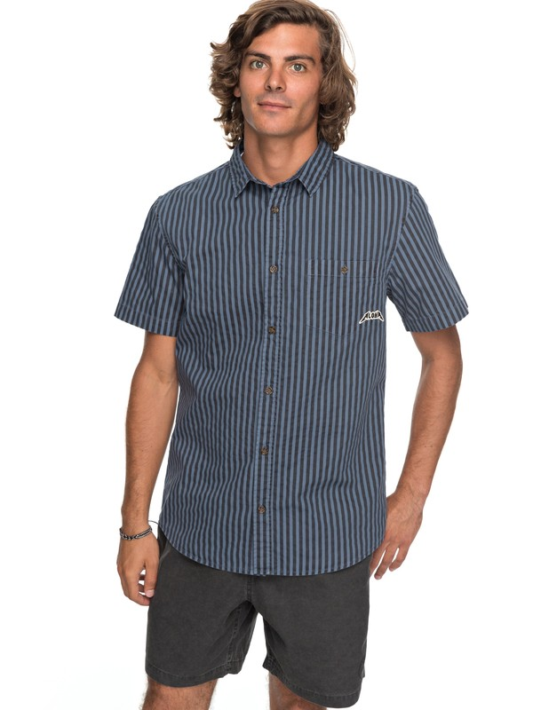 0 Bro Stripe Short Sleeve Shirt Blue EQYWT03654 Quiksilver