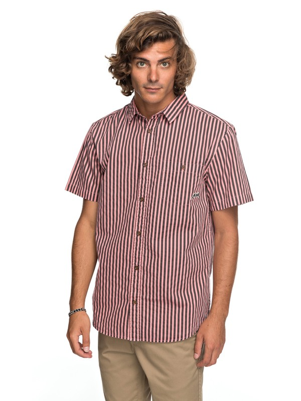 0 Bro Stripe Short Sleeve Shirt Pink EQYWT03654 Quiksilver