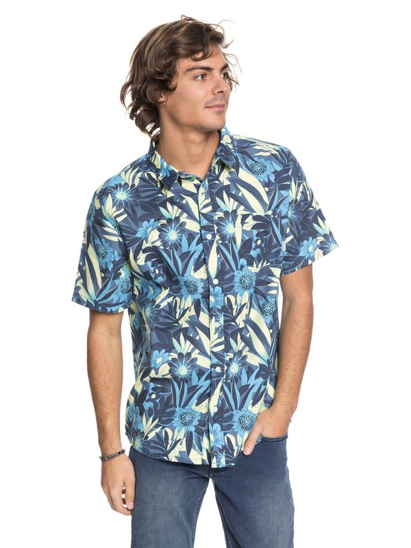 0 Hippy Beach Short Sleeve Shirt Blue EQYWT03684 Quiksilver