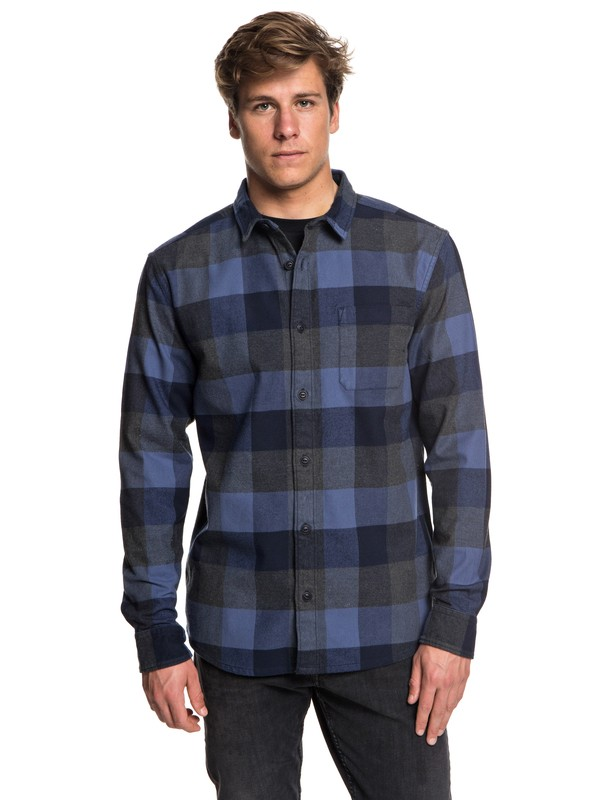 0 Men's Stretch Flannel Long Sleeve Shirt Blue EQYWT03693 Quiksilver