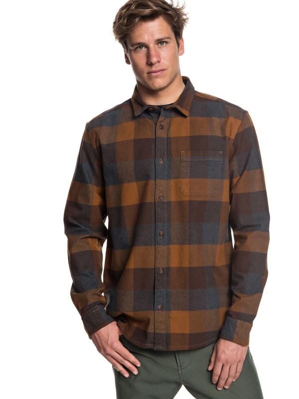 0 Stretch Flannel Long Sleeve Shirt Brown EQYWT03693 Quiksilver