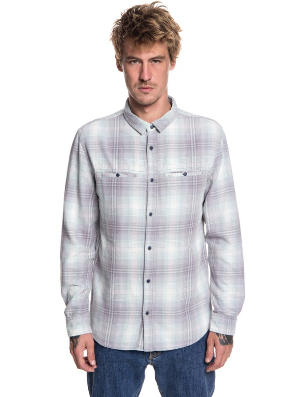 0 Men's Konga Pass Flannel Long Sleeve Shirt Beige EQYWT03695 Quiksilver