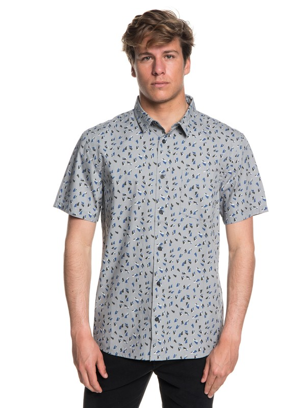 0 Men's Akan Waters Short Sleeve Shirt Grey EQYWT03698 Quiksilver