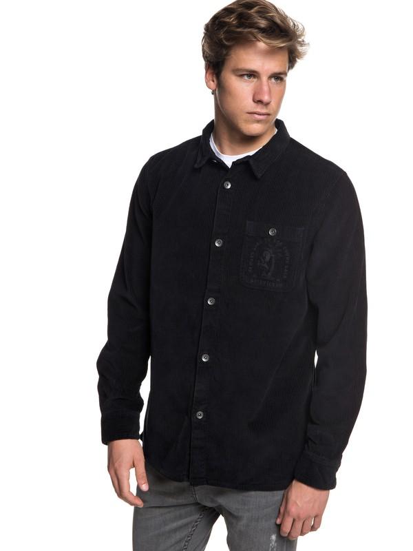 0 Rebun Cord Long Sleeve Corduroy Over Shirt Black EQYWT03702 Quiksilver