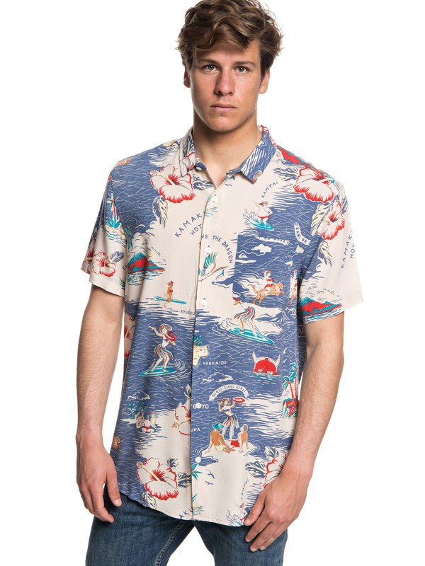 0 Hombres Camiseta Banzai Camp Azul EQYWT03709 Quiksilver