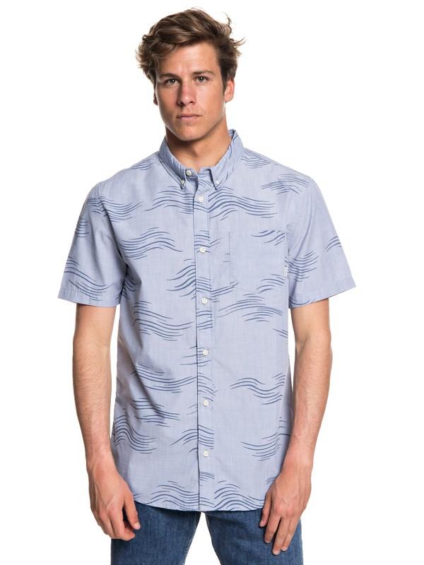 0 Men's Valley Groove Short Sleeve Shirt Blue EQYWT03714 Quiksilver