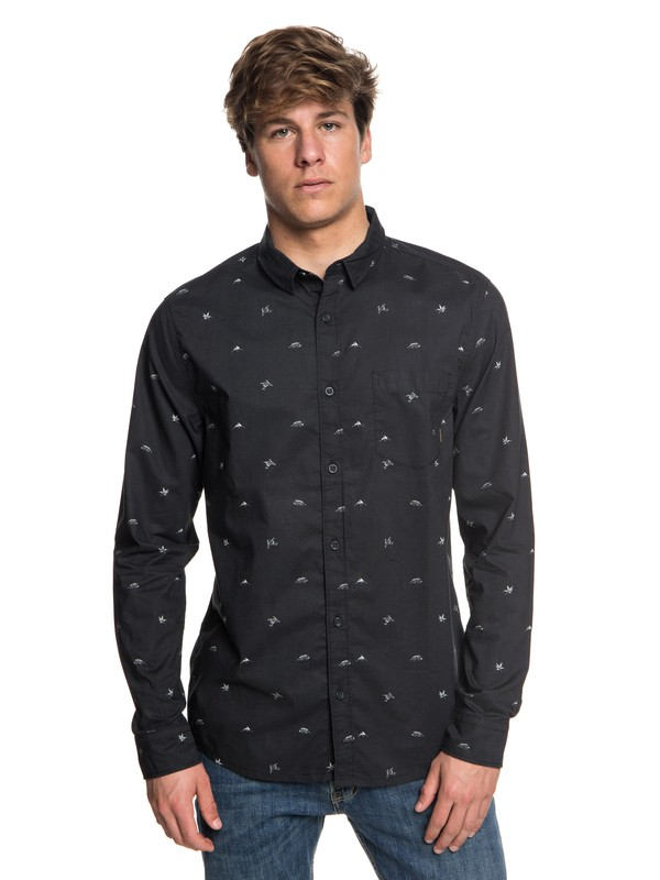 0 Men's Fuji Mini Motif Long Sleeve Shirt Black EQYWT03716 Quiksilver