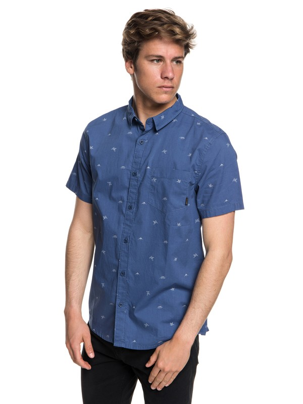 0 Men's Fuji Mini Motif Short Sleeve Shirt Blue EQYWT03717 Quiksilver