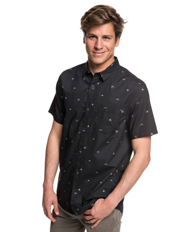 0 Fuji Mini Motif Short Sleeve Shirt Black EQYWT03717 Quiksilver