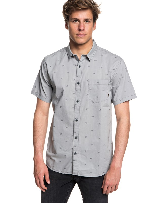 0 Men's Fuji Mini Motif Short Sleeve Shirt Grey EQYWT03717 Quiksilver