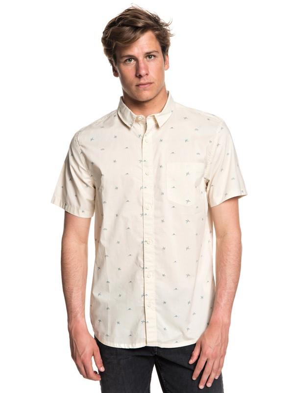 0 Men's Fuji Mini Motif Short Sleeve Shirt White EQYWT03717 Quiksilver