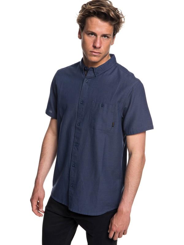 0 Men's Waterfalls Short Sleeve Shirt Blue EQYWT03723 Quiksilver