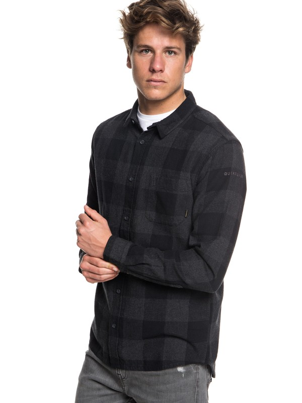 0 Motherfly Flannel Long Sleeve Shirt Black EQYWT03728 Quiksilver