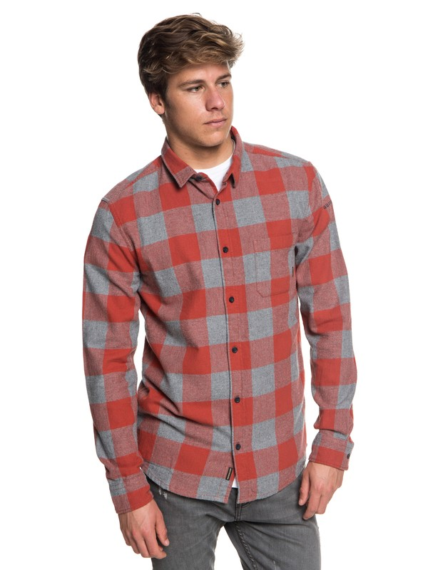 0 Motherfly Flannel Long Sleeve Shirt Red EQYWT03728 Quiksilver