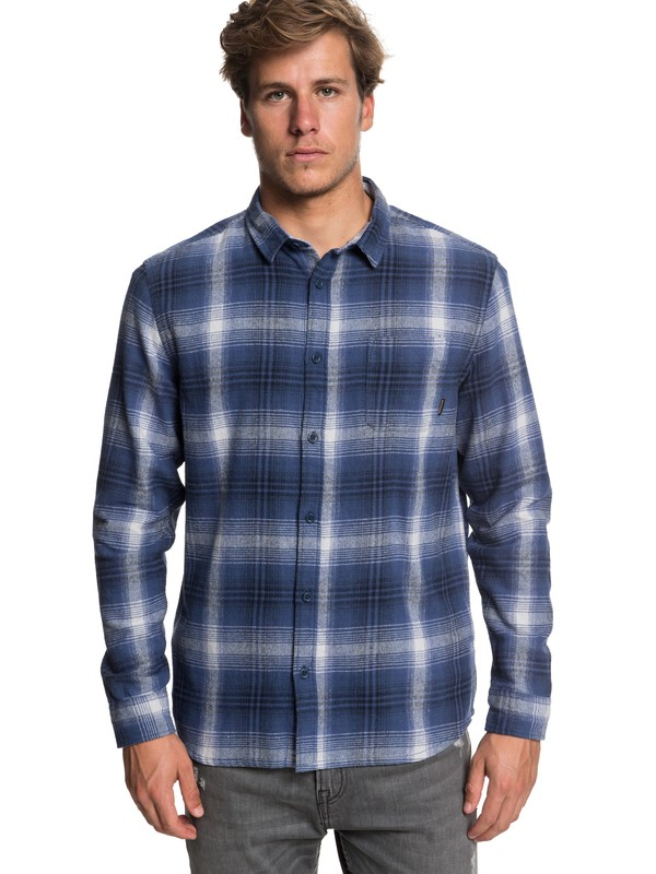 0 Men's Fatherfly Long Sleeve Shirt Blue EQYWT03730 Quiksilver