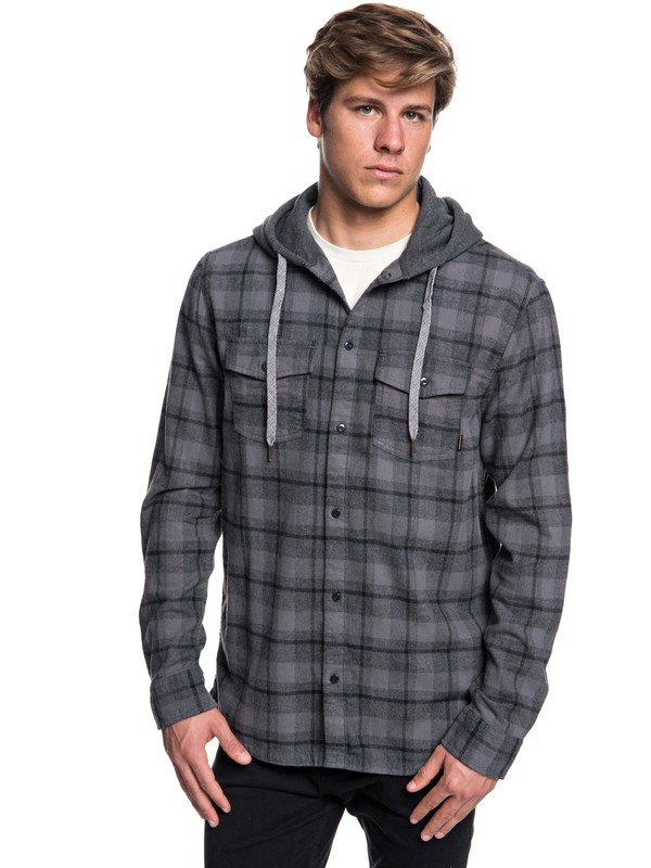 0 Snap Up Flannel Long Sleeve Shirt Black EQYWT03732 Quiksilver