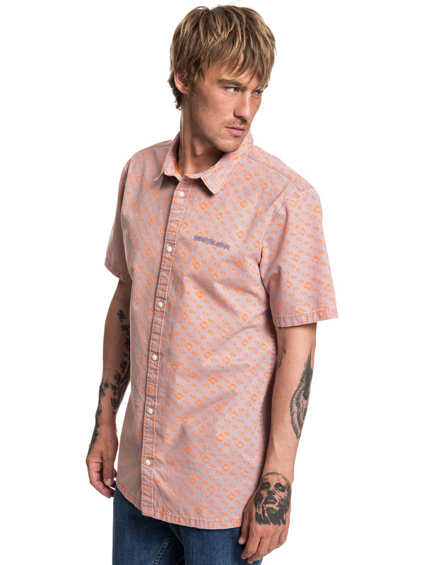 0 Walls Short Sleeve Shirt Orange EQYWT03759 Quiksilver