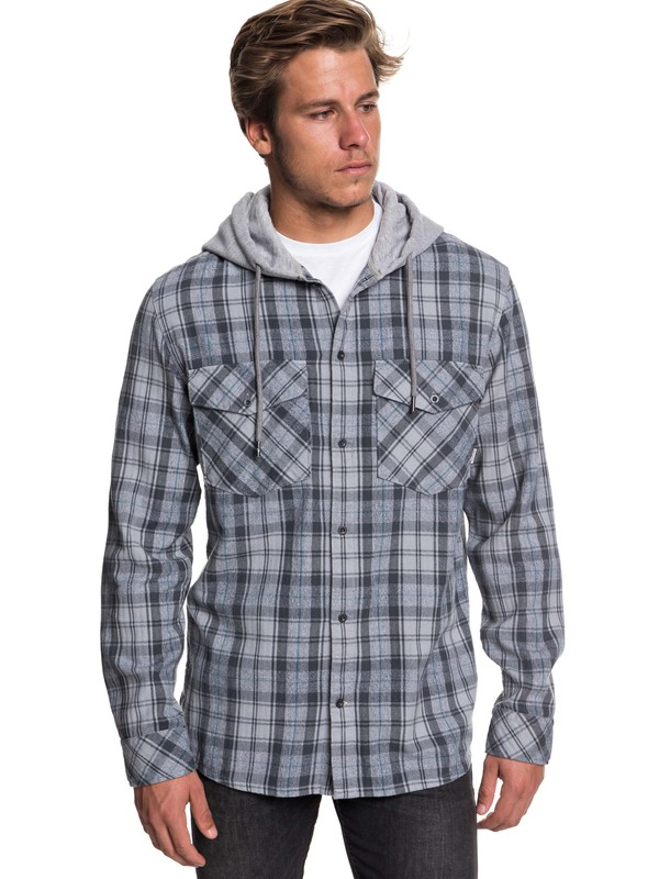 0 The Magston Long Sleeve Hooded Shirt Black EQYWT03770 Quiksilver